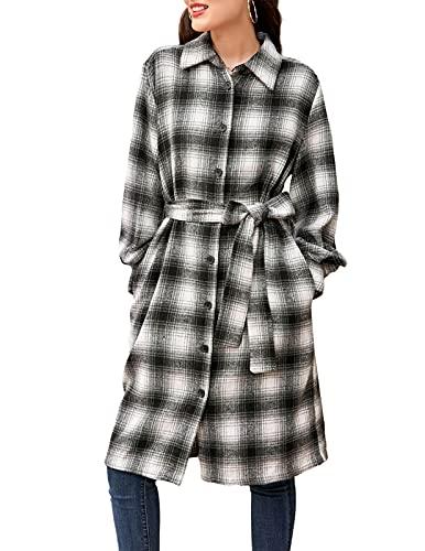CURLBIUTY 여성 캐주얼 롱 슬리브 플라이드 롱 셔츠 라펠 버튼 다운 재킷