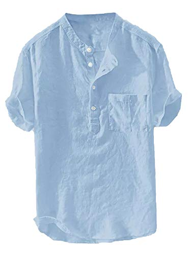 Enjoybuy Mens Banded Collar Linen Casual Button Up Shirts Short Sleeve Summer Comfort T-Shirts (X-Large, 03-Blue)