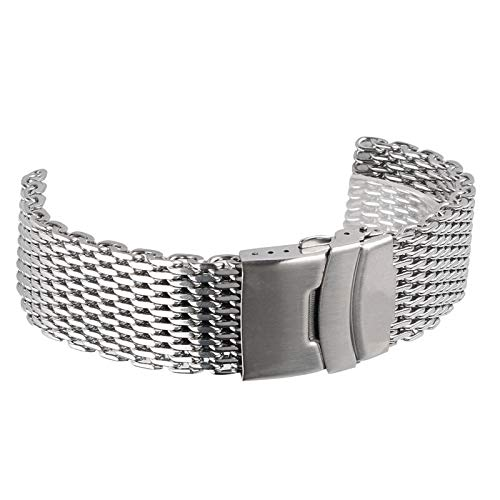 Love+djl Bracelets de montre Silber 18mm / 20mm / 22mm / 24mm Band-Edelstahl-Haifisch Netz Uhrenarmband-Bügel-Armband-Uhrenarmbänder (Band Width : 18mm)