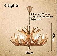 LIPENLI 北欧風 手作 ホーン鹿樹脂シャンデリア照明用リビングルームのベッドルームホテルアントラーLEDシャンデリアロフトヴィンテージレトロシャンデリアの照明 ポストモダン (Lampshade Color : 6 lights Brown)
