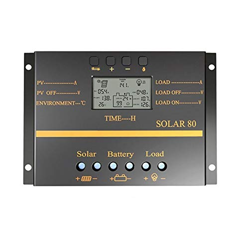 GNY Solar Charge Controller PWM 80A 60A Controlador Solar 12V 24V Controlador de Cargador automático Pantalla LCD Panel Solar Regulador de Carga de la batería USB 5V (Current : 60A)
