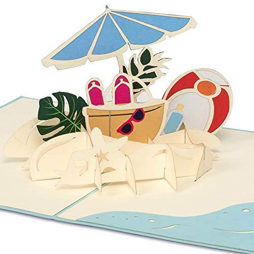PaperCrush® Pop-Up Karte Urlaub am Meer [NEU!] - 3D Geschenkkarte für Sommerurlaub (z.B. Spanien, Italien, Portugal) - Besondere Geburtstagskarte für Sommer, Strand Reisegutschein