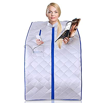 SereneLife Portable Infrared Home Spa- One Person Sauna, Heating Foot Pad and Chair