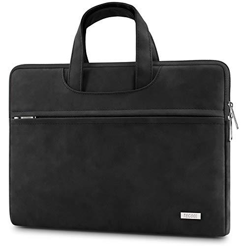 TECOOL Funda Portatil 13,3-14 Pulgadas, Funda Ordenador Maletín Impermeable Cuero Bolsa con Mango para MacBook Air/Pro 13, 13,5