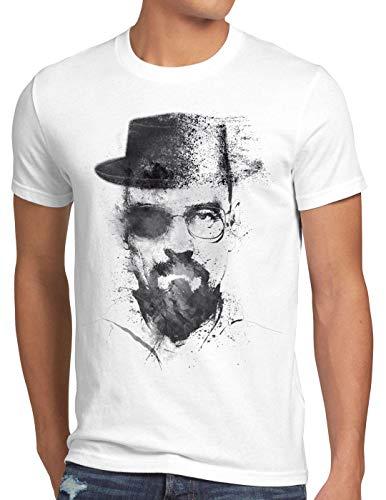 style3 Walter Crystal T-Shirt Herren Meth White tv Serie, Größe:XL, Farbe:Weiß