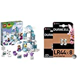 LEGO Duplo Princess TM - Frozen Castillo de Hielo, Juguete de Palacio de Princesas + Duracell Specialty LR44 Pila de botón alcalina de 1,5 V, Paquete de 8