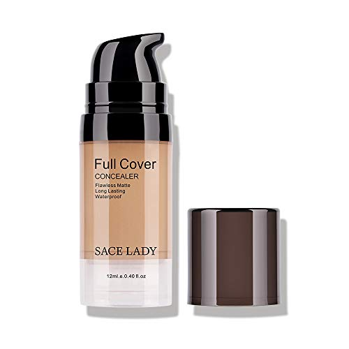 Pro Full Cover Liquid Concealer, Waterproof Smooth Matte Flawless Finish Creamy Concealer Foundation for Under Eye Dark Circles Spot Face Concealer Corrector Makeup Base (05.Honey 12ml)