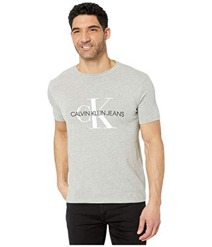 Calvin Klein Herren Short Sleeve Monogram Logo T-Shirt, Hellgrau Heather UNbox, Mittel