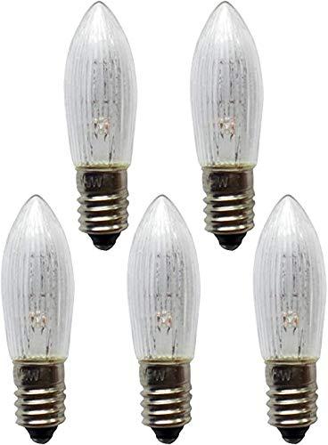5er Pack Topfkerze Spitzschaftkerze Riffelkerze 12V 3W für Schwibbogen Pyramiden Lichterketten innen