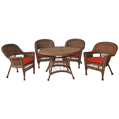 Jeco 5 Piece Wicker Dining Set with Red Cushions, Honey