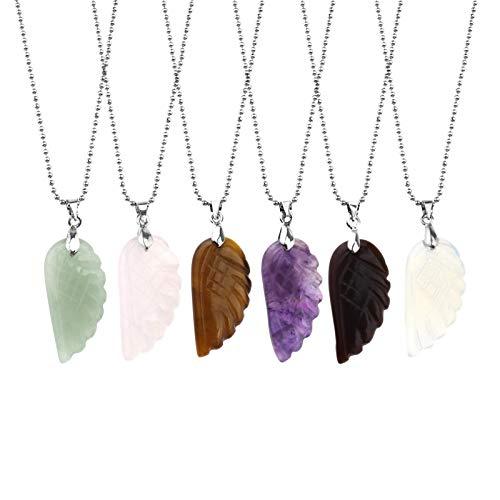 Creëer Idee 6 Stks Natuurlijke Steen Engel Vleugels Hanger met 6 Stks Ketting Set Gemengde Kleur Sieraden Gesneden Edelsteen Bedel