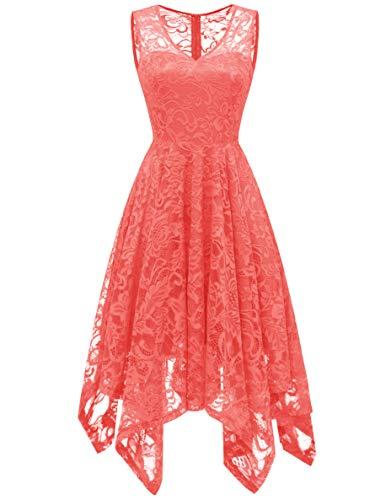 Meetjen Damen Elegant Spitzenkleid V-Ausschnitt Unregelmässig Vokuhila Kleid Festlich Cocktail Abendkleid Coral XL