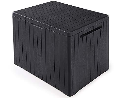 Ondis24 Keter Kissenbox, Balkonbox City, Maße ca. 58 x 44 x 55 (H) cm, Volumen ca. 113 Liter, abschließbar, anthrazit