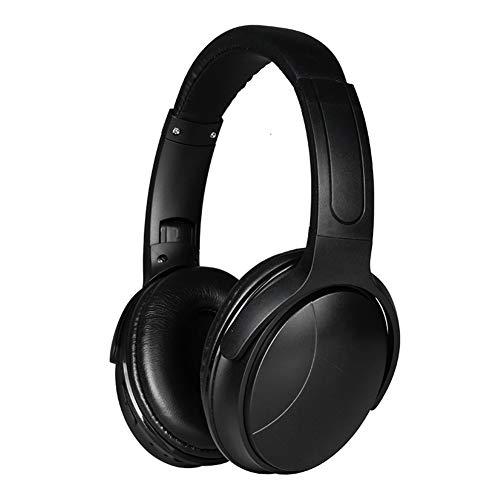 Auriculares de diadema inalámbricos Bluetooth 5.0 estéreo, ligeros, auriculares estéreo inalámbricos con micrófono negro