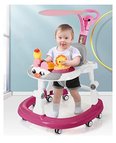 Olz Andador Rosa Ajustable en Altura con empujador y sombrilla, Andador multifunción Plegable antivuelco, antivuelco, Andador para niños y niñas de 6 a 18 Meses