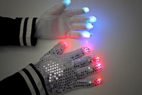 Pailletten LED-Handschuhe