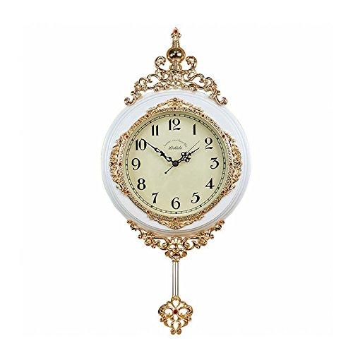 MEILING Europäische Klassische Wohnzimmer Wanduhr Stille Wohnzimmer Metall Holz Original Bewegung Uhr Mit Pendel Blanc Alphabet Arabe 16 Pouces
