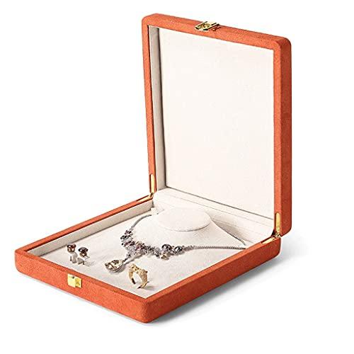 QIFFIY Caja de joyería Beige 20 * 23 * 5 cm, Caja de exhibición de Joyas de Cuero, Hombres o Mujeres Pendientes de Collar Anillo de Dedo Caja de Almacenamiento con Cerradura (Color : Orange)