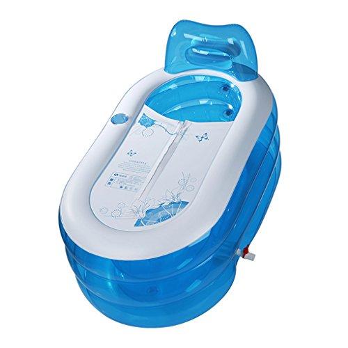 Adulto/niño Doblez Transparente el plastico Bañera Inflable Drenaje Doble Espesamiento Independiente Tres Capas Inflado Barril de baño Bañera Azul 130 * 70 * 70cm