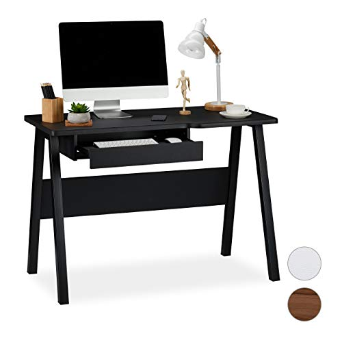 Relaxdays Schreibtisch mit Tastaturauszug, platzsparend & kompakt, große Arbeitsfläche, HBT: 77,5 x 110 x 58 cm, schwarz