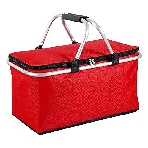 Cesta de picnic plegable, 30 l, tamaño grande, bolsa isotérmica, cesta de picnic aislada con cremallera y asas de aluminio, para camping, senderismo, viajes, actividades al aire libre (rojo)