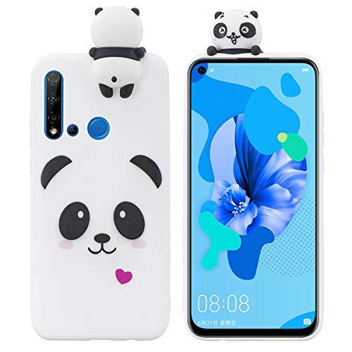 LUSHENG Capa pintada para Huawei P20 Lite (2019)/Nova 5i, boneca fofa à prova de choque e de quedas, gel de sílica macio TPU, compatível com Huawei P20 Lite (2019)/Nova 5i (6,5 polegadas) - Panda branco