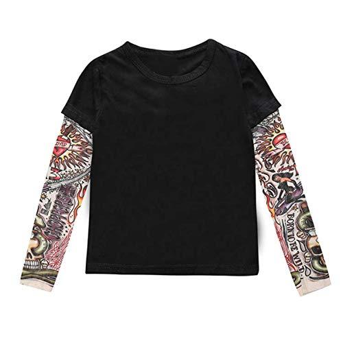 puseky Camiseta para niños pequeños con Estampado de Tatuaje y Camiseta de Manga Larga