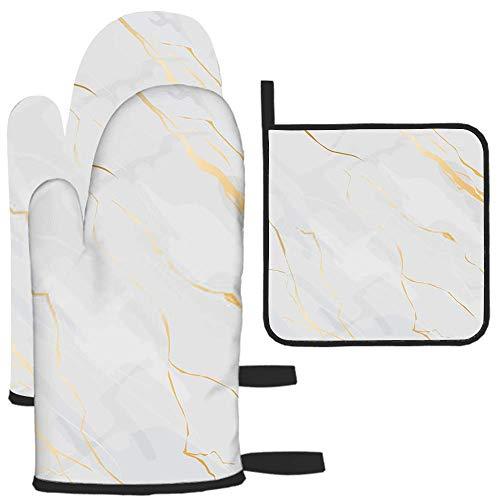 LAVYINGY Lot de 3 maniques et maniques en marbre et ligne dorée - Résistantes à la chaleur - Dessous de plat pour comptoir de cuisine - Pour micro-ondes, barbecue, cuisson au four