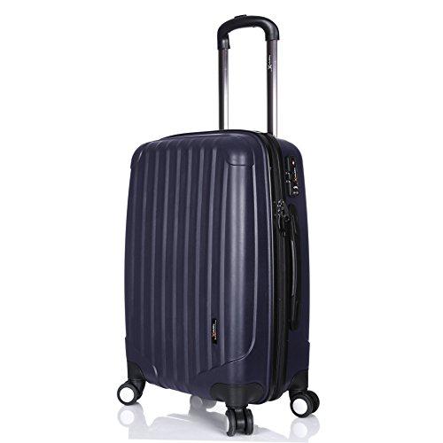 LuggageX Virtually Indestructible Navy Blue 70 cm (28') Hard Sided Polypropylene Lightweight Trolley Suitcase