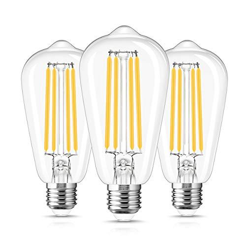 ST64 Vintage Glühbirne, LOHAS E27 LED Lampe, 15 Watt ersetzt 140 Watt, Filament, 1500 lumen, 2700K Warmweiß Retro Edison, Nicht Dimmbar, Glas, 230V, 3er Pack