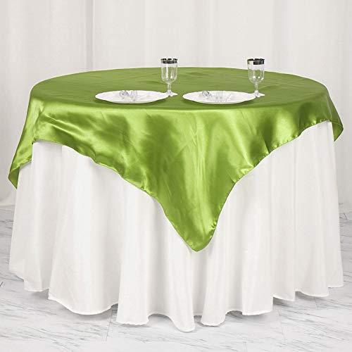 """Efavormart 5pcs 60"""" Satin Square Tablecloth Overlay for Wedding Catering Party Table Top Decorations SAGE Green"""