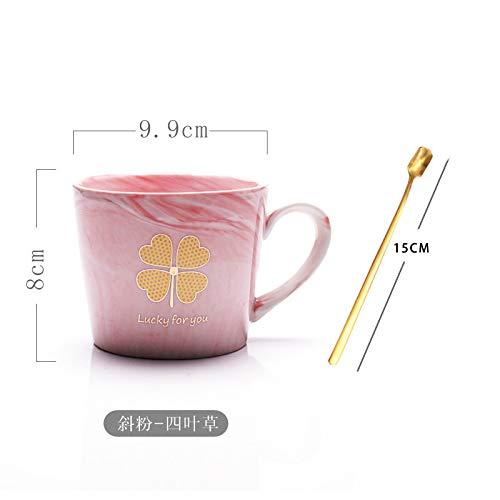 Europäische Marmor-Keramik-Tasse mit Löffel, als Geschenk, Schräges Pulver – vierblättriges Kleeblatt (ohne Deckel), 301-400ml