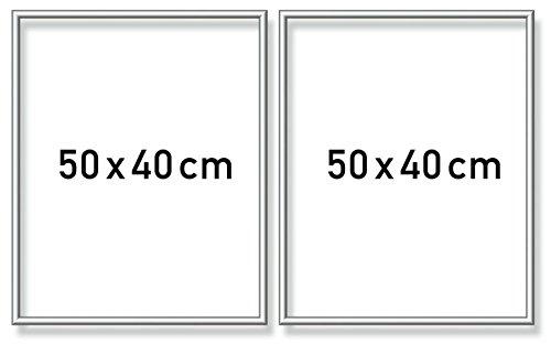 Schipper 605280765 Malen nach Zahlen, Diptychon Alurahmen 50 x 80 cm, silber matt ohne Glas für Ihr Kunstwerk, einfache Selbstmontage