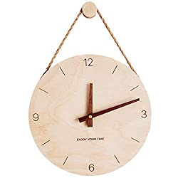 Outgeek 10in Wall Clock Creative Wooden Home Decor Clock Decorative Clock with Hanging Rope & Hook
