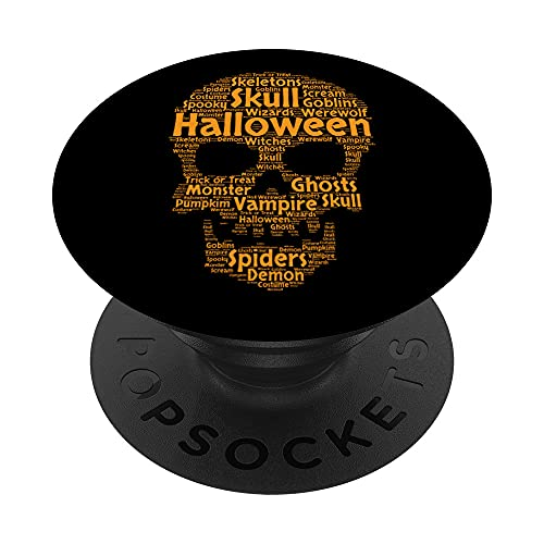 Halloween Scary Skull Orange Spooky Ghosts Word Cloud PopSockets PopGrip Intercambiable