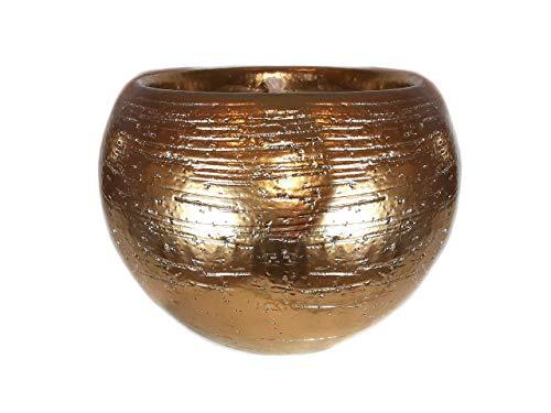 Der Perlenspieler® - Shabby Kerzenschmelzer Edel-Tischlicht in funkelnd-Goldener Metall-Optik-ca.14 cm x ca. 14 cm