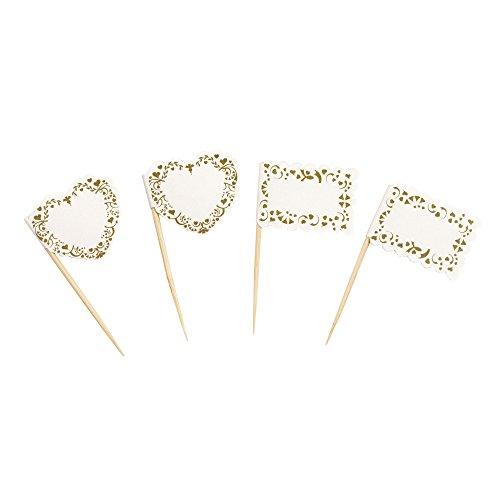 Neviti Vintage Romance Papierfähnchen, Papier, Papier, Gold, 3 x 3 x 6.5 cm
