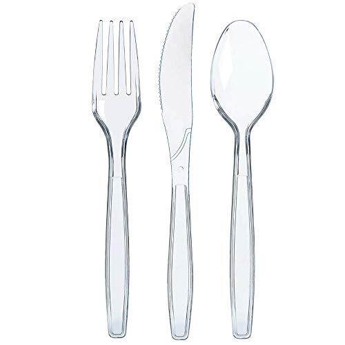 300 Clear Plastic Silverware Set  Disposable Plastic Utensils  100 Plastic Forks 100 Plastic Spoons 100 Plastic Knives  Plastic Cutlery Set  Heavy Duty Bulk Flatware Set