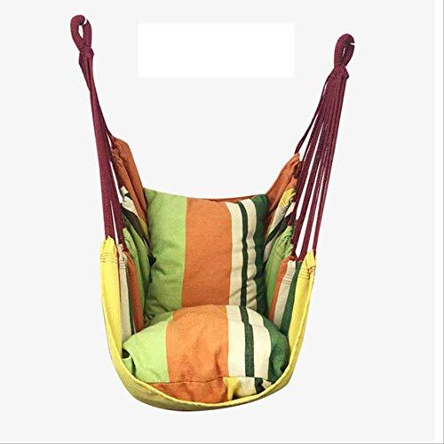Hangmat MYKK Draagbare hangstoel Schommelstoel Tuin Binnen Buiten Mode Hangmat Schommel met 2 kussens 130 * 100 cm Geel