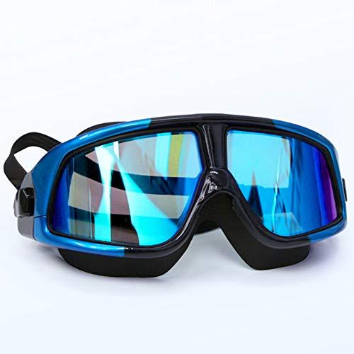 Profesional Anti Niebla Sin Fugas Protección UV Marco Grande Gafas para Nadar, Gafas Piscina con Correa de Ajustables para Deportes Acuáticos, Unisex, Adulto(Color: Blue)