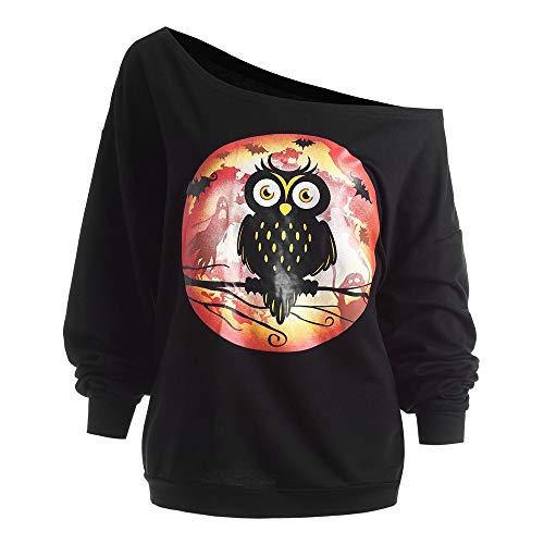 Damen Plus Größe Halloween Langarm Kapuzenpullover Eule Skew Neck Sweatshirt Pullover Tops Bluse Shirt