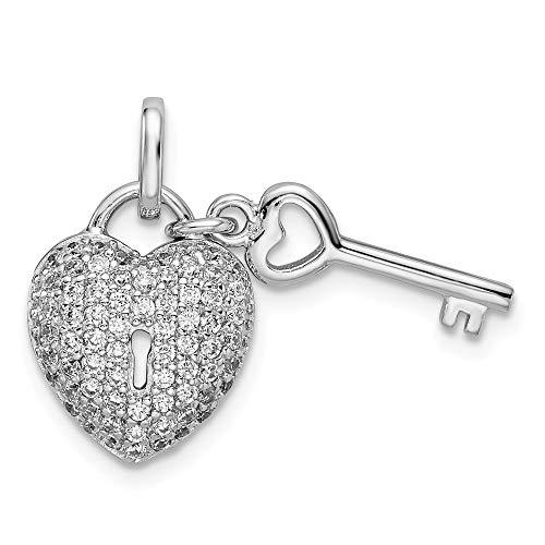 Saris and Things 925 Sterling Silber rhodiniert zirkonia Herz formte Schloss und schlüssel-anhänger