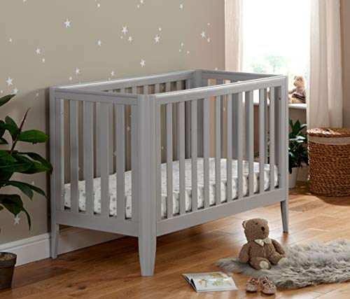 Babymore Iris Baby Cot Bed | Solid Pine Wood | Converts into Baby Bed, Toddler Bed | 3 Adjustable Bed Base Positions | 4 Teething Rails | Nordic Style | Grey