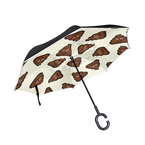 Wamika Happy Poop Icon-Regenschirm, doppelschichtig, wendbar, Winddicht, selbststehend, UV-Schutz, Nicht automatisch, groß, gerade, Kopf, C-förmiger Griff für Auto Regen