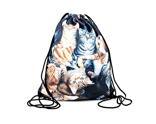 Hanessa Jutebeutel - unterschiedliche Katzen-Collage - mit lustigem Spruch Aufdruck Sportbeutel lustige Sprüche Rucksack Beutel Tasche Gym Bag Hipster Fashion Sport-Tasche Einkaufs-Tasche RU-270