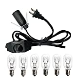 Haraqi Salt Lamp Cord and Bulbs,Himalayan Salt Lamp Replacement Cord with Dimmer Switch,Original UL Listed Cord Bulb Replacement for Salt Rock Lamp with 6 Pack 25 Watt E12 Bulbs