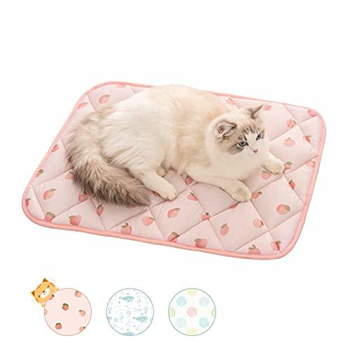 PEOPLE&PETS ペットベッドマット 夏用ひんやり冷感 暑さ対策 猫 犬 クールマット 毛が引っ付きにくい 通気性いい 洗える 滑り止め ピーチ 65x45cm
