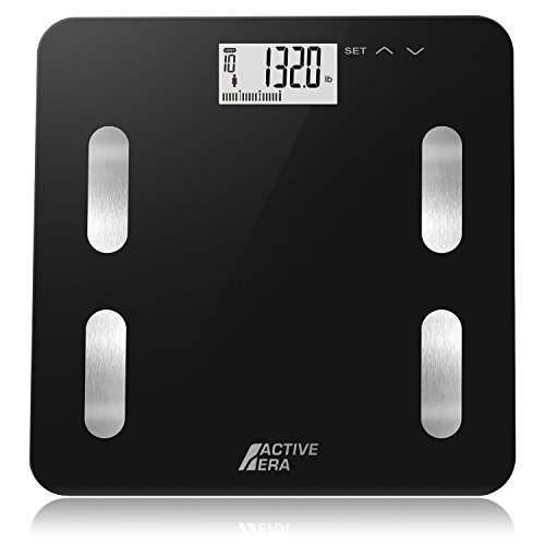 Active Era Digital Body Weight Bathroom Scale - Body Fat Analyzer with BMI - 400 Pounds/180 KG - Ultra Strong Tempered Glass with LCD Display and Step on Technology - Midnight Black