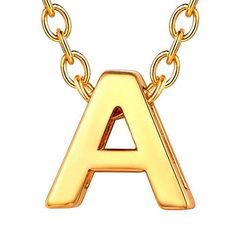 U7 イニシャルネックレスA レディース 18金メッキ ゴールド ペアネックレス シンプル 小さめ 鏡面 おしゃれ 大人可愛い アクセサリー 母の日プレゼント