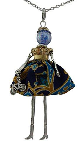 Hanessa Damen-Schmuck Silberne Hals-Kette mit Puppe-Anhänger Zinklegierung in Silber mit Fahrrad und bunten orientalischen-Kleid Geschenk zum Valentinstag für die Frau/Freundin/Frauen